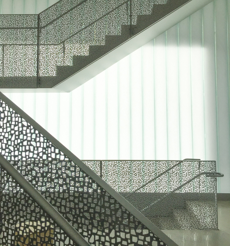 Interior stair railings use the same shapes.