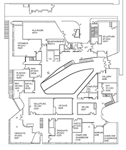 Visual Arts Building second floor plan