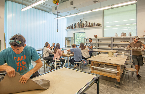Grad students working the ceramics studio.
