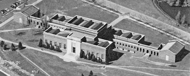 Aerial view of the art building