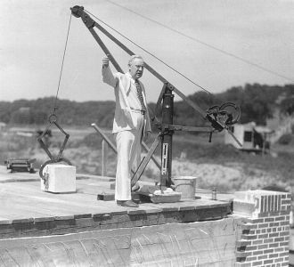 Walter Jessup laying the cornerstone of Art Building, June 2, 1934