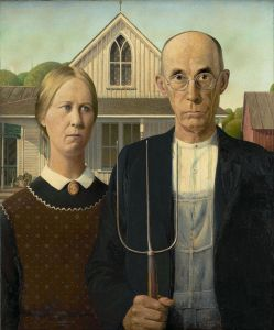 """American Gothic"" painting by Grant Wood"