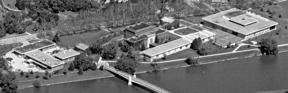 Aerial view of the Art Building and Art Museum