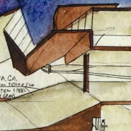 Steven Holl's early conceptual drawings of the building.