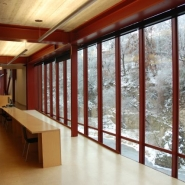Looking south down the cantilevered wing toward the library's periodical reading room.