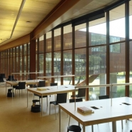 Study areas in the library overlooking the pond and the cantilevered wing.