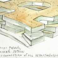 Steven Holl developement drawing  of the new Visual Arts Building