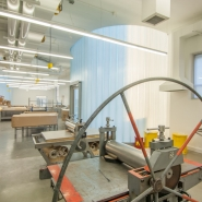 Printmaking studio filled with natural light