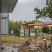 Exterior view of ravine with Art Building West in background