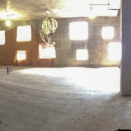 Panorama of first floor interior without walls showing window placement