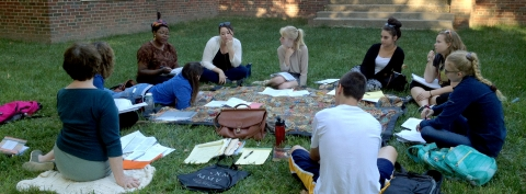 Art History students on the Art Building lawn