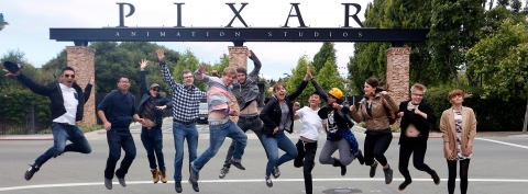 Animation students outside of the Pixar Animation Studios