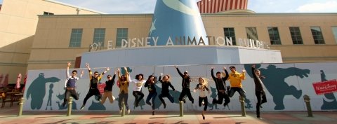 Animation students outside of the Roy E. Disney Animation Studios