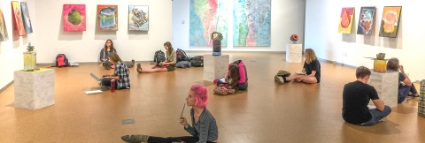 Students in Levitt Gallery in Art Building West