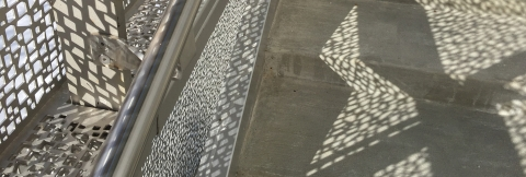 Detail of exterior stair of Visual Arts Building