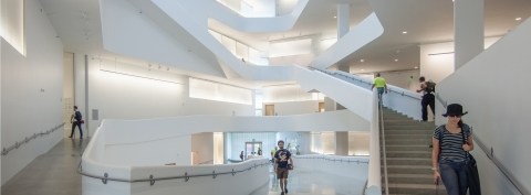 Inside the new Visual Arts Building on the University of Iowa campus.