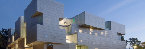 The exterior view of the new Visual Arts Building on the University of Iowa campus.