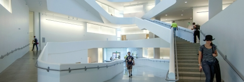A view inside the new Visual Arts Building on the University of Iowa campus.