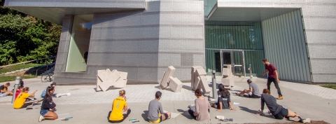 Students outside the new Visual Arts Building