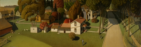 Sketch of the birthplace of Herbert Hoover, by Grant Wood