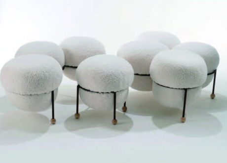 A Flock of Sheep, 2019 by Youtian Duan - Wood, Foam, Fabric, Metal, Metal Fabrication Upholstery Woodturning 60 X 20 x 16 in.