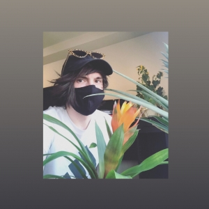greent plant with yellow flower in front of person with black face mask, black ball cap and sunglasses on top of the brim.