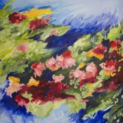 Abstract pink and red flowers on a green and blue background