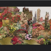 """""""(Nothing But)Flowers Collage (64x15"""", paper collage)"""" Artwork by Suzanne Bradley"""