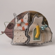 "Brooch     ""Even rabbits crazy about money""   2017-8  Aluminum, maple, brass, enamel, Delrin, Acrylic ink, laser printer ink, an"