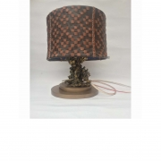 Water cast table lamp (brass and stones), Stand is wood and shade is leather