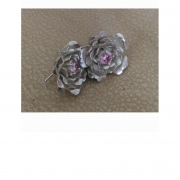 Sterling silver and cubic zirconia tube set rose earrings