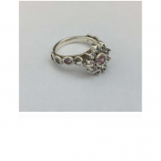 Sterling silver and cubic zirconia cluster set ring