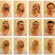 A grid of digital photos reference Ana Mendieta's self-portraits. A white male head is altered in three rows of the artist with