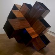 wood panels boxes, blue lighting