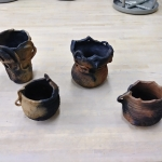 four pieces of pottery by Zachary Cervenka